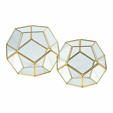 Gold Geometric Terrarium Candle Holders - Home Decor - 2 Pieces