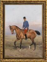 "Old Master-Art Antique Oil Painting Portrait aga horse on canvas 24""x36"""