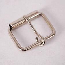 "Single-Prong Roller Buckle 1.5"" Wide Belt Strap Leather Hardware Silver Color"