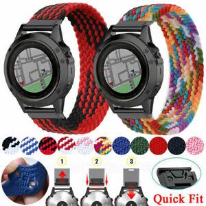 Elastic Braided Nylon Watch Band Strap For Garmin Fenix 6 6X Pro 5 5X Plus 3 HR