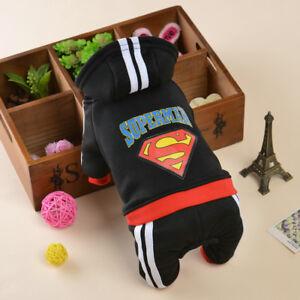 Pet Dog Clothes Puppy Winter Coat Sweat Suit Hoodie Apparel Superman XS S M L