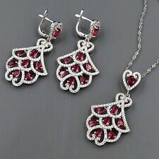 925 Sterling Silver Zirconia CZ Pendant Necklace Dangle Earrings Jewelry Set 660