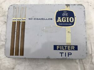 Vintage Agio Brand Cigarillos Empty Tin of 50 Made In Holland.