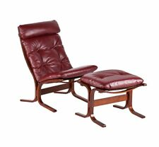 Studio Red Lounge Curved Wood Chair and Ottoman Studio Version