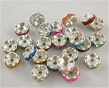 50 RONDELLE 6MM RHINESTONE SPACER BEADS - Mixed Colours - Rondelles - SP8