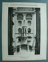 AuK1) Architektur Stuttgart 1901 Charlottenstr 31 Weinstube Schaukasten 26x34cm