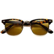 Designer Inspired Half Frame Wayfarer Tortoise Sunglasses GD-Amber Lens
