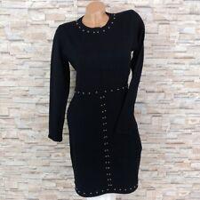 MADE IN ITALY Bodycon Strickkleid Winterkleid mit Nieten Perlen schwarz 34 36 38