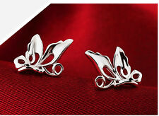 925 Sterling Silver Plated Hollow Cut Out Butterfly Stud Earrings Butterfly Back