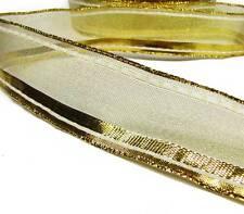 "5 Yards SALE Christmas Metallic Gold Shiny Top Stripe Sheer Ribbon 1 1/2""W"