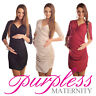 New MATERNITY RUCHED SIDE V NECK DRESS Pregnancy Wear Size 8 10 12 14 16 18 6408