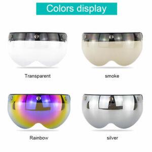 Windshield Motorcycle Helmet Flip Up Visor Shield Lens 3-Snap Half Open Face ATV