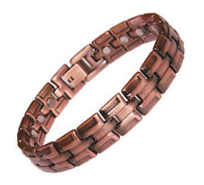 Mens Magnetic Solid Copper Link Golf Bracelet Roma with Adjuster and Box