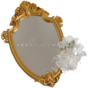 """16""""Decorative Wall Mirror Oval Antique Vintage Gold Tray Livingroom"""