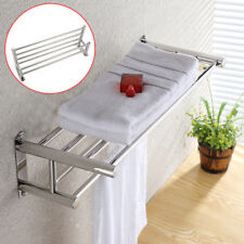 Double Chrome Towel Rail Holder Wall Mounted Bathroom Rack Shelf Stainless UK