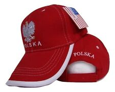 Poland Polish Polska Eagle Flag Red White Trim baseball hat cap 3D embroidered