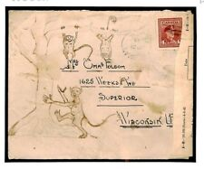 W539a CANADA WW2 Hand Illustrated Censor 1944 Cover MONKEY Thematic Wisconsin