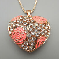 Pink Enamel Rose Flower Crystal Heart Pendant Betsey Johnson Necklace