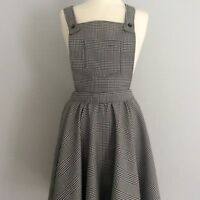 Black & white tartan check dungaree pinafore dress