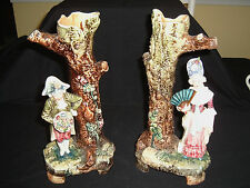 Large Pair of Majolica Figural Vase ~ French France ? ~ 12 inches Tall