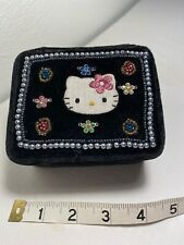 Hello Kitty Vintage Jewelry Box Velvet Beads Jeweled Embroidered Sanrio Tag