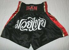 Han Muay Thai black red gold boxing shorts size Xl Excellent