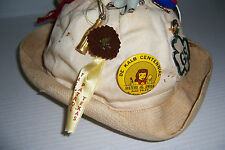 Vintage Sailor Hat Covered In Pinback Buttons Ribbons Charms Keychains & More