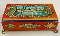 Vintage Western Germany Mavis Footed Tin Fricke & Nacke Tea Trinket Box