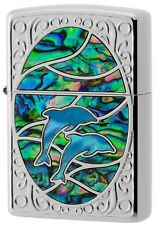 New Authentic Zippo Shell Dolphin Green x Blue Oil Lighter 1201S603