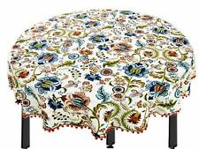 100% Cotton Multi Flower Fringe Round Table Cover / Tablecloth / (65 Inch) KU