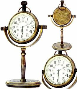 "5"" Vintage Collectible Maritime Antique Brass Desk Clock Nautical Pocket"