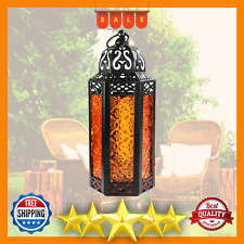 Moroccan Style Candle Lantern Medium Amber Glass Candlelight Hanging Candlestick