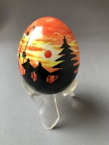 Small Hand Painted Decorative Egg Sunset Evening Scene Bali Clear Plastic Stand
