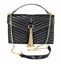 Inc International Concepts Yvvon Crossbody Black Quilted Gold Tassel