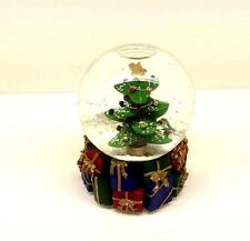 MUSICAL  Snow Globe Holiday Glass Christmas Tree & Ornaments Wind-Up Music Box