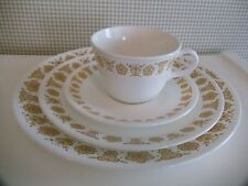 Corelle/Corning 16 Piece BUTTERFLY GOLD ~ Service for 4 + Bonus Open Sugar/Cream