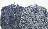 Lot of 2 ONO Shirts Liberty House_1/4-Button PullOver_Sz.L_1 Floral & 1 Paisley