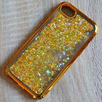 Apple iPhone 7 Glitzer-Hülle Gold flüssig Liquid Silikon-Hülle Strass-Rahmen WoW