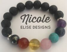 Aroma Therapy Lava Stone, Chakra 7 Stone Bracelet Use With Essential Oil