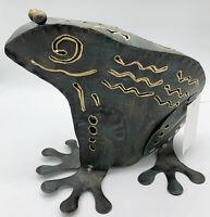 Metal Frog Garden Lantern Tea Light Candle Holder Green Gold Cutouts