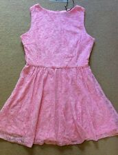 SEXY MISSGUIDED CANDY PINK FLORAL LACE SKATER SLEEVELESS SHORT DRESS SIZE 12 NEW