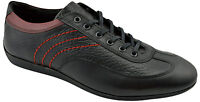 $195 REACTOR Black Red Leather Driving Casual Sneakers Men Shoes