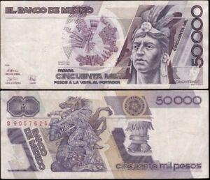 "Mexico: 28-3-1989 50,000 Pesos Series EZ ""HIGH DENOMINATION"". Pick 93b"