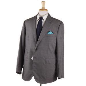 NWT $3500 EDOARDO BORRELLI NAPOLI Handmade Houndstooth Check Wool Suit 44 R