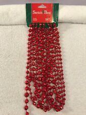 Christmas Garland Red Beaded 18 feet long Santa's Best Ch4312
