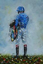 Original Oil Painting Horse racing horses jockey horse painting wall art Jockey