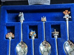 1981 Prince Charles Princess Diana boxed set of 6 spoons - carriage bells crown