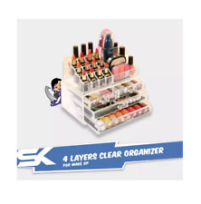 4 Layers Clear Plastic Drawer Make-up Organizer