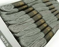25 Pcs Cotton Gray Thread Needlepoint Sewing Stitch Embroidery Cross Floss Skein