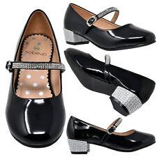 Kids Dress Shoes Rhinestone Ankle Strap Mary Jane Pumps Fuchsia